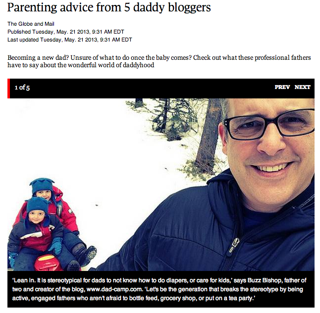 DadCAMP featured in the Globe and Mail