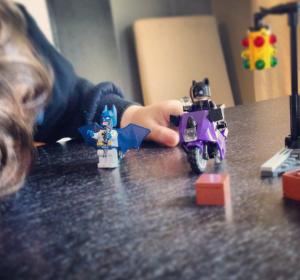 Charlie playing with Lego