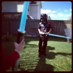 backyard light sabre battle with darth vader