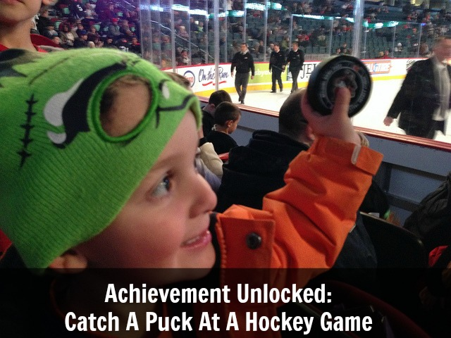 Achievement Unlocked: Catching A Puck At The Hockey Game
