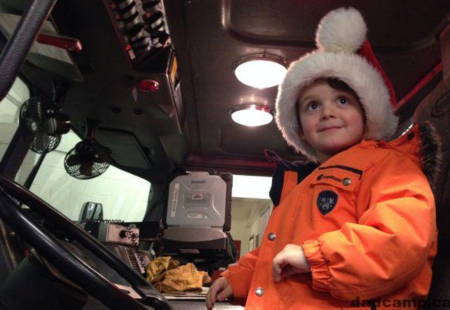 Charlie drives a firetruck