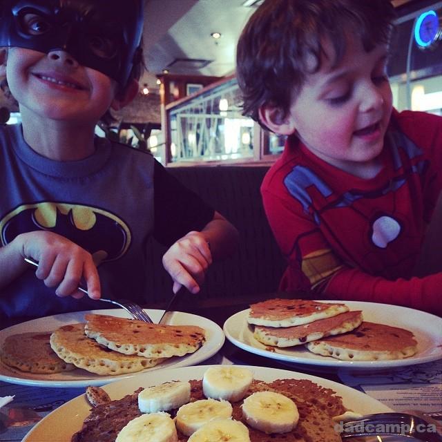 Batman and Iron Man pancakes