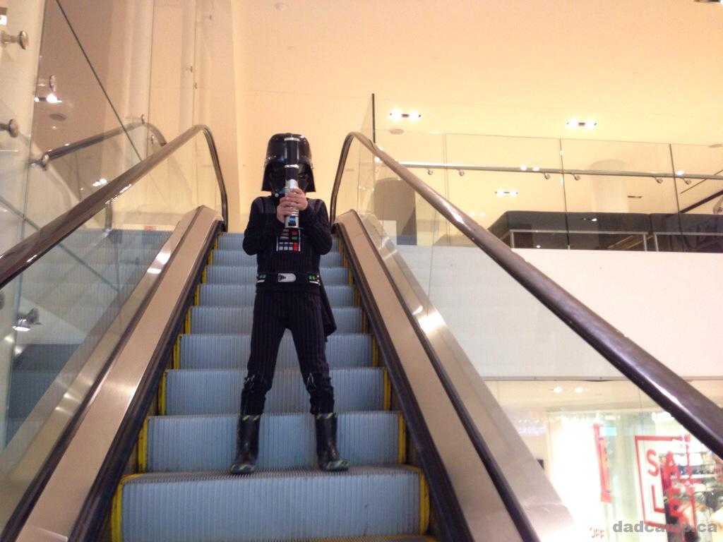 Darth Vader Rides An Escalator