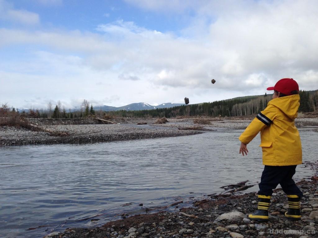 Throwing Rocks In Allen Bill Pond - DadCAMP