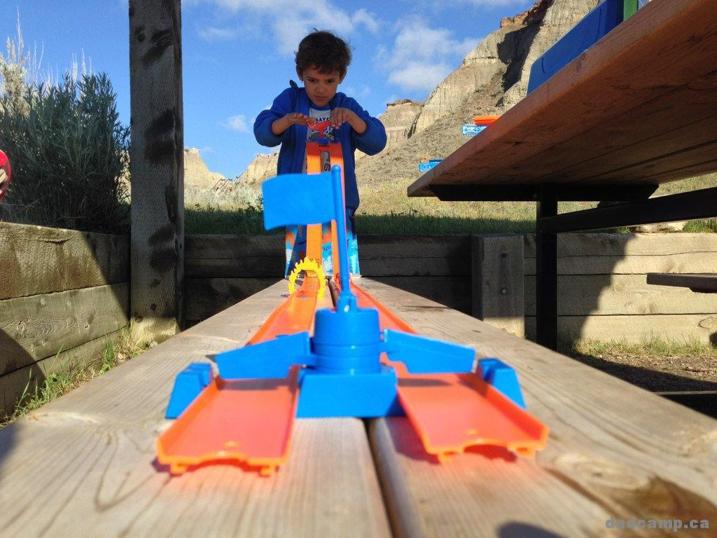 Playing with Hot Wheels while camping - DadCAMP