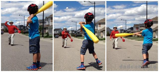 Zacharie playing baseball - DadCAMP