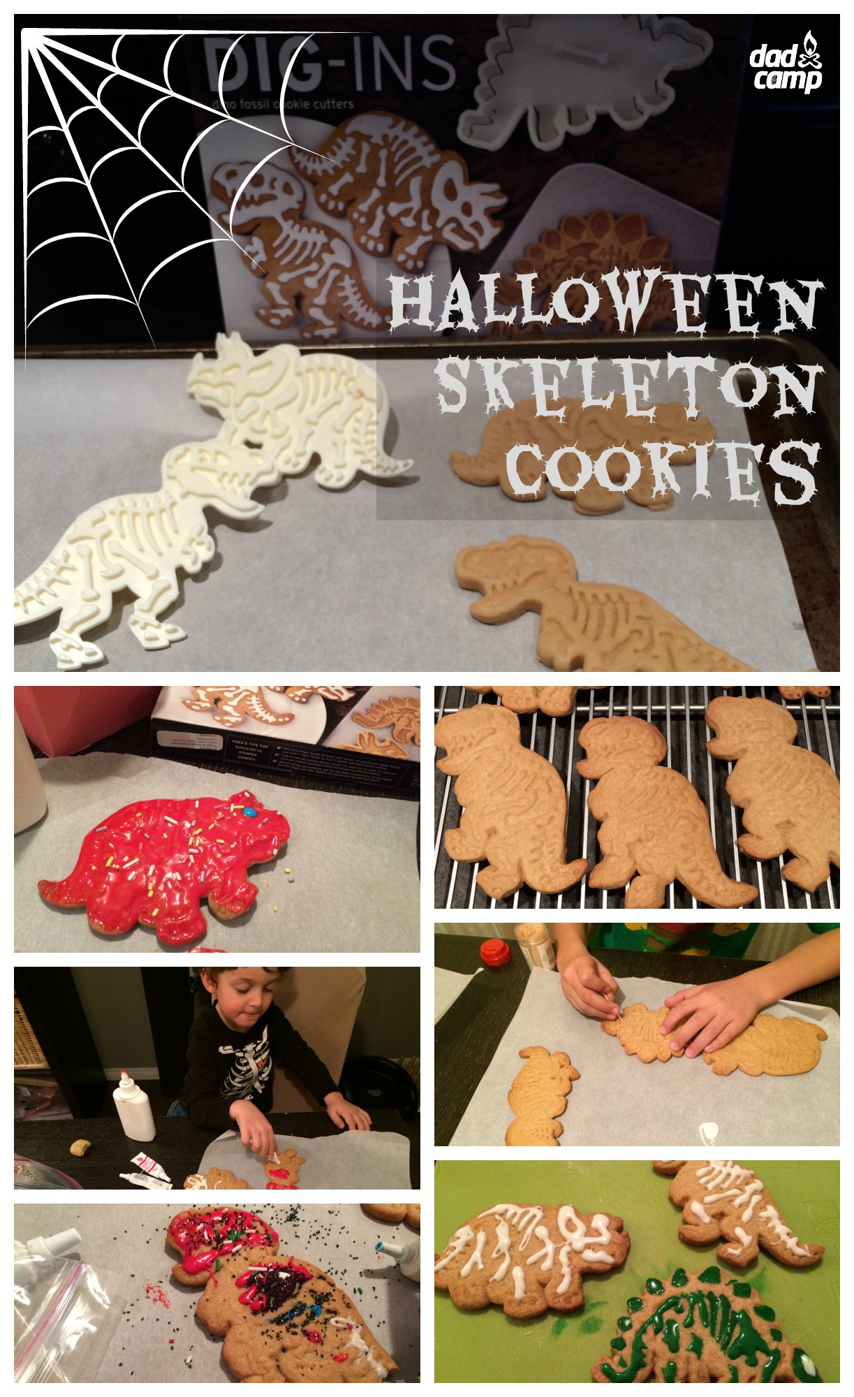 Dinosaur Skeleton Halloween Cookies