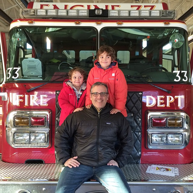 When you give, you receive. Boys donated toys to the #cfd toy drive and got to climb on a truck. #bestdayever #yyc #firetruck #charity #zacharie #charlie #dadcamp