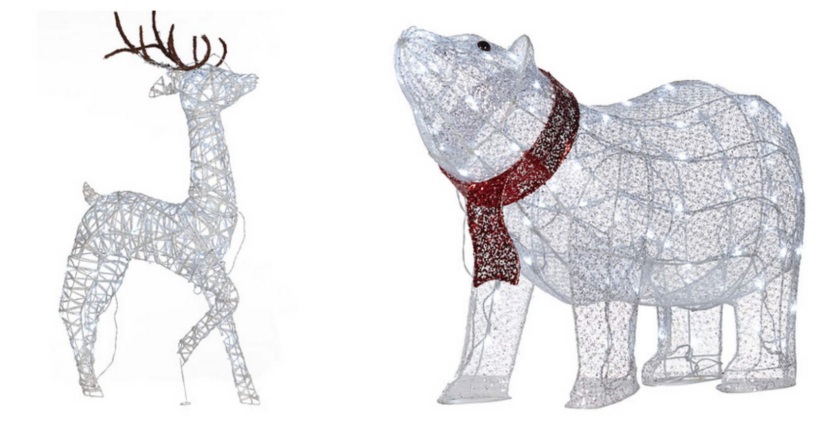 lighted polar bear and reindeer decorations