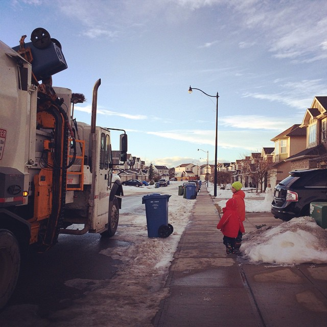 After school recycling truck. #bestdayever #parenting #zacharie #Charlie #capturecalgary #yyc #cityofcalgary