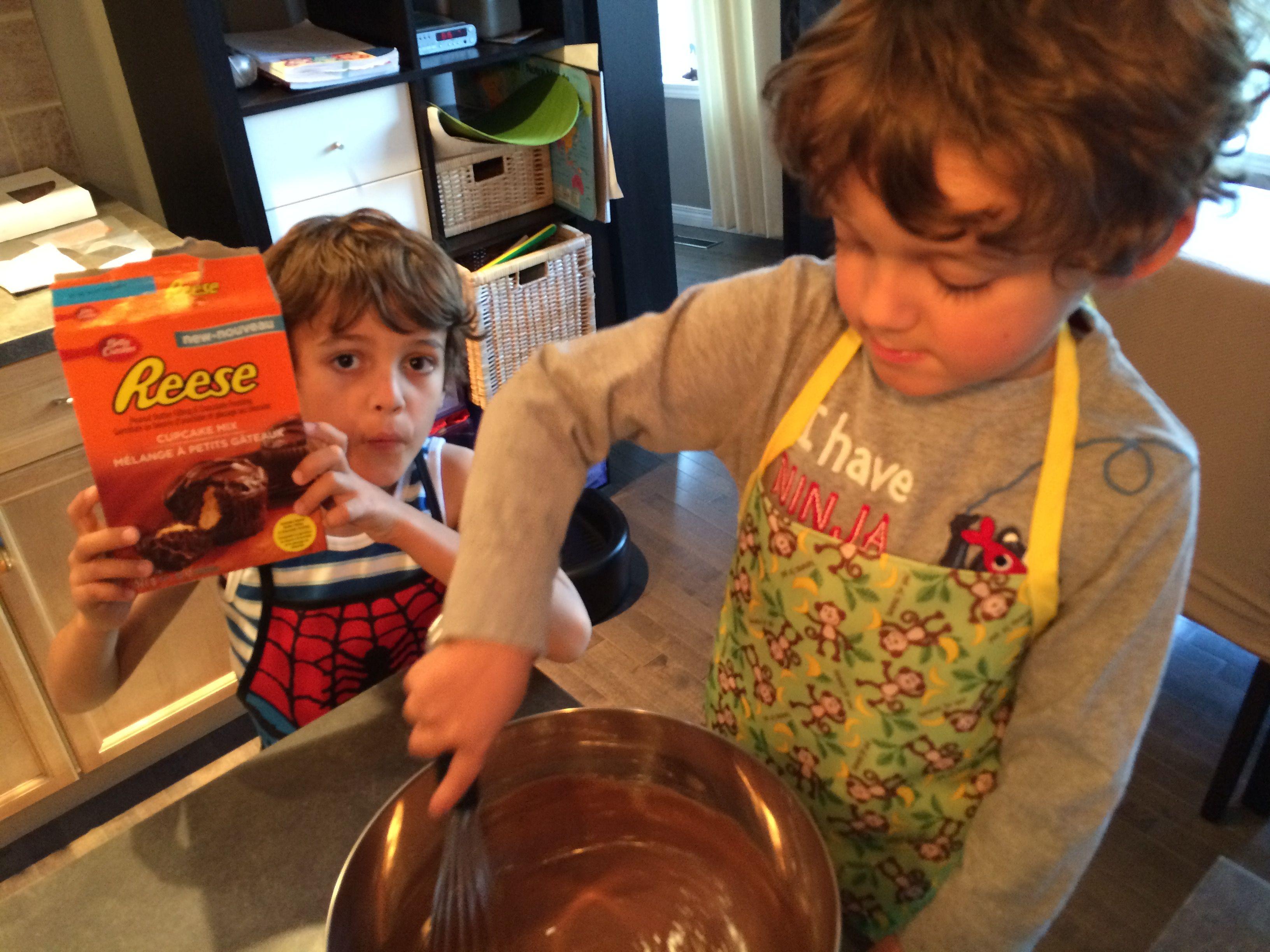 2014-09 Boys Baking Cupcakes - 1