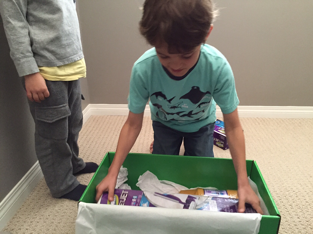 Zacharie opening swiffer box