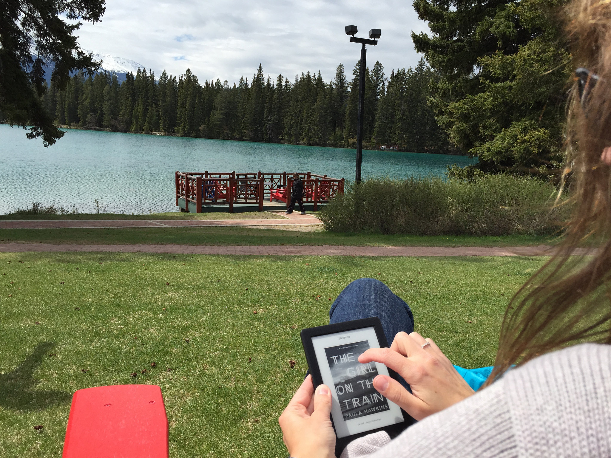 Reading a Kobo at the lake