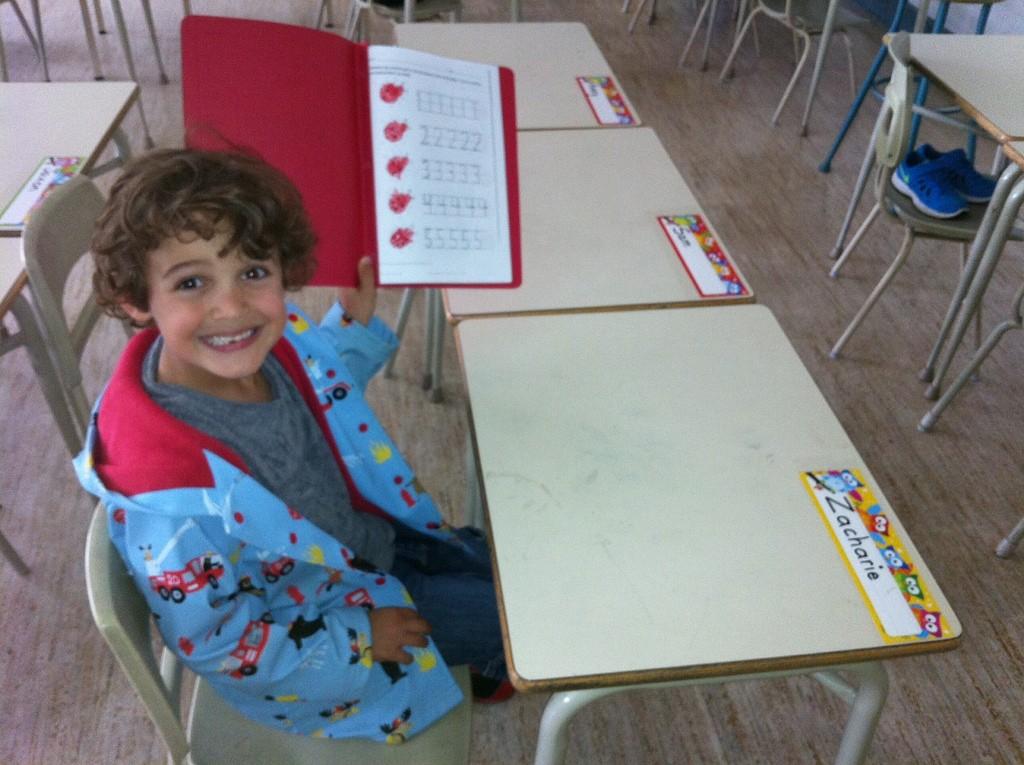 Zacharie hard at work in Grade 1