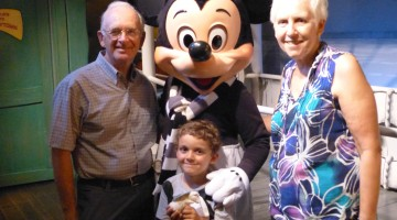 Charlie and Nana and Grandpapa with Mickey