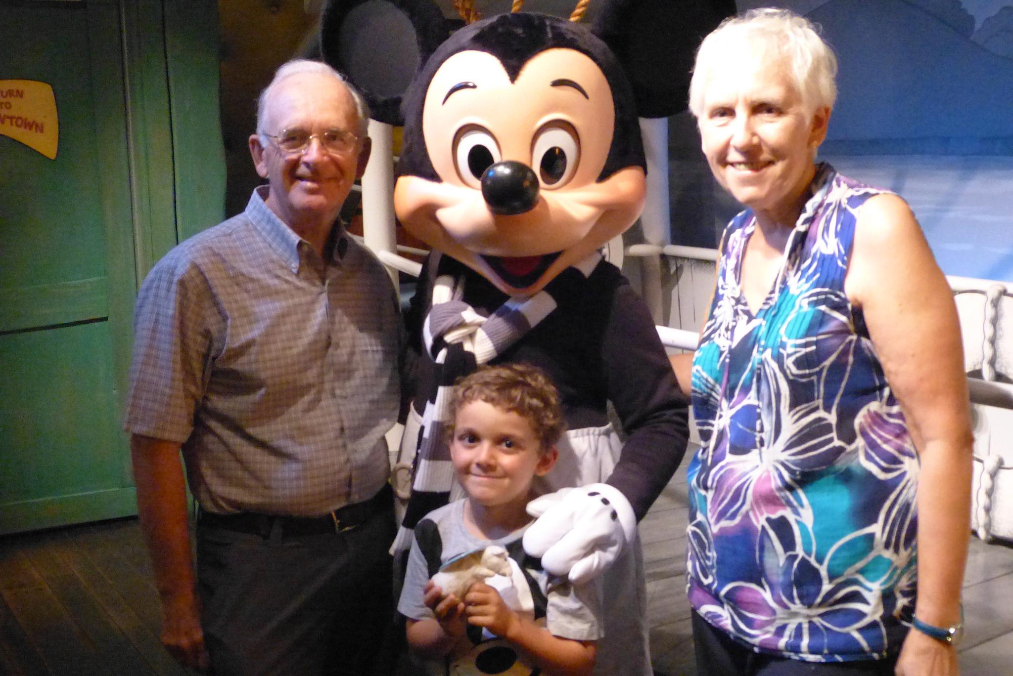 Charlie and Nana and Grandpapa with Mickey