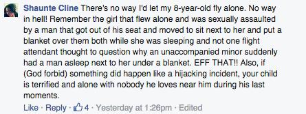 Shaunte Cline Facebook comment