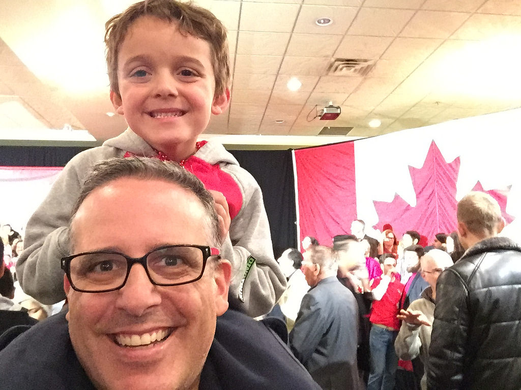 Charlie and Daddy at a Trudeau Rally