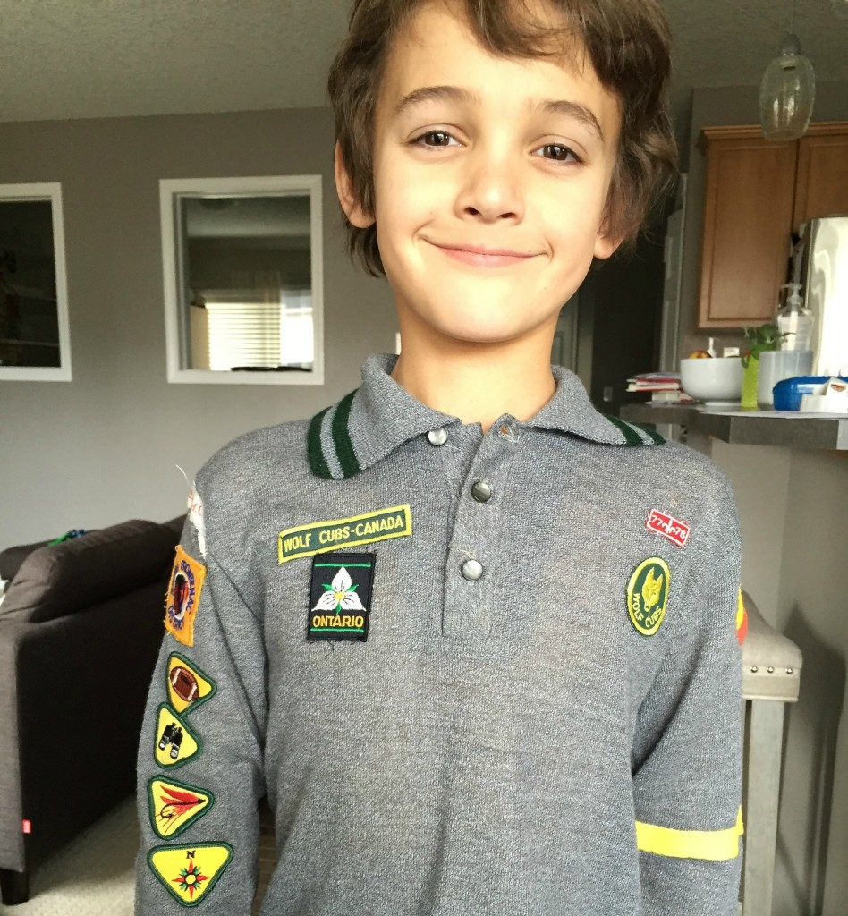 Zacharie in my old cub scouts uniform