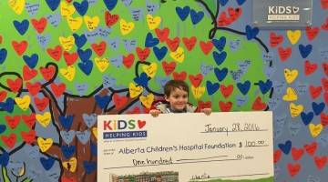 Charlie Cheque at Alberta Children's Hospital