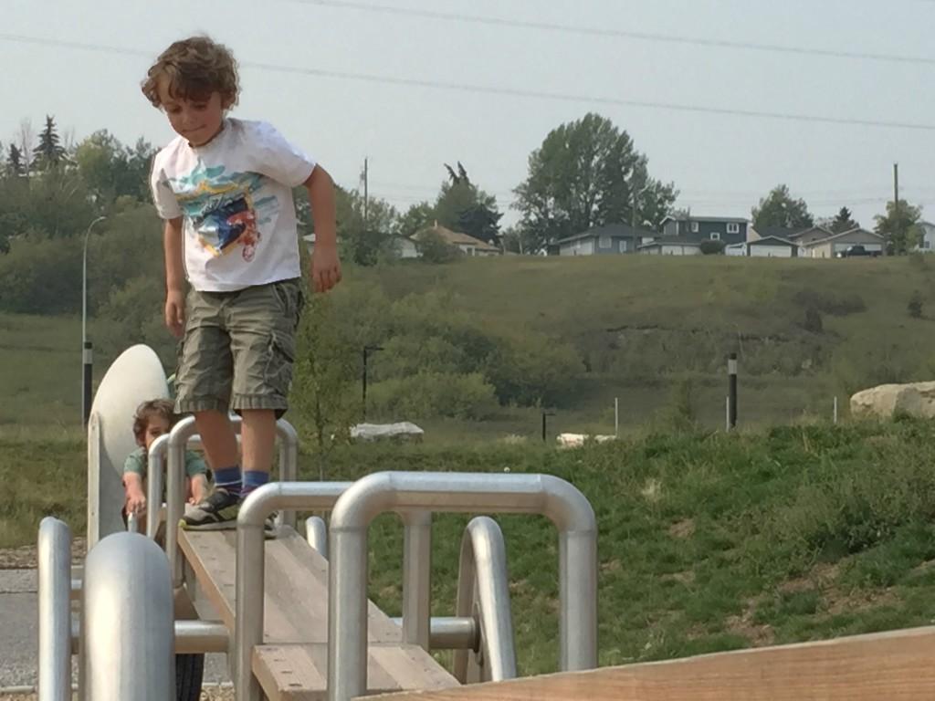 charlie climbing teeter totter