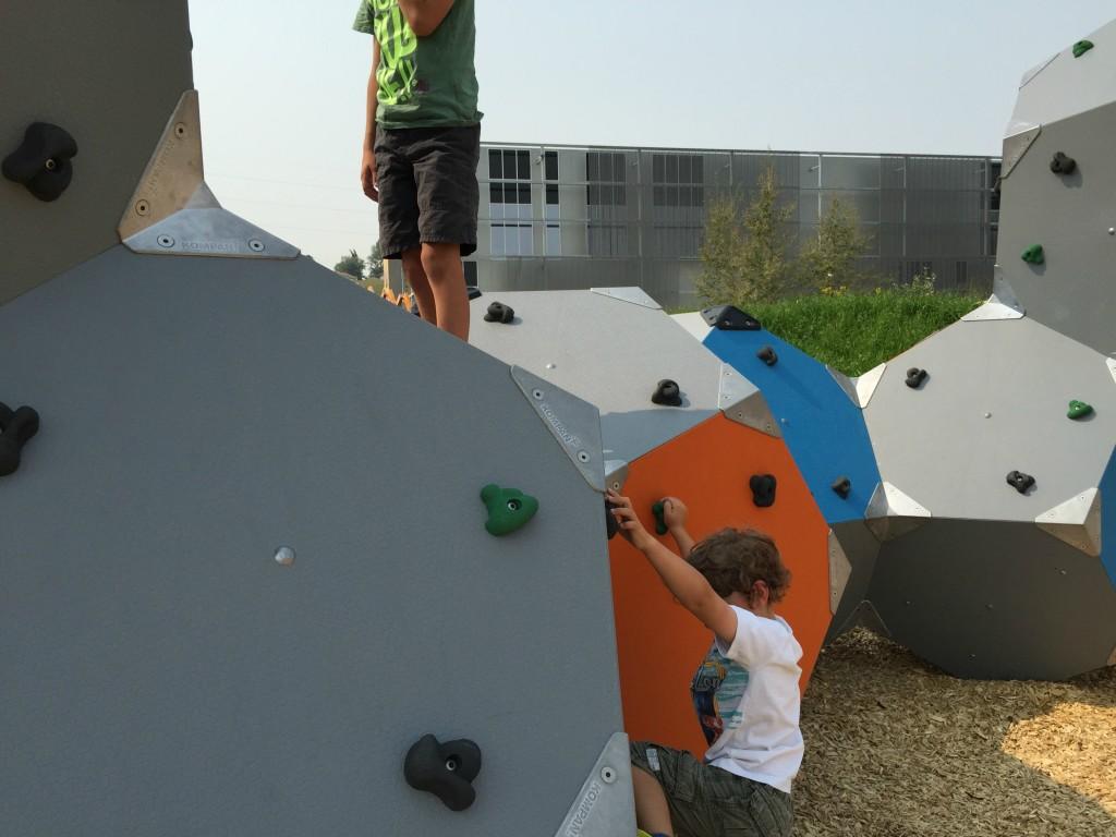 Climbing orbs at TELUS Spark