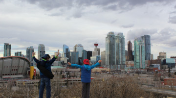 Charlie and Zacharie Skyline - Charlie and Calgary Skyline - DadCAMP