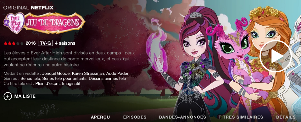 Ever After High en francais - Netflix