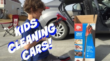 kids cleaning cars