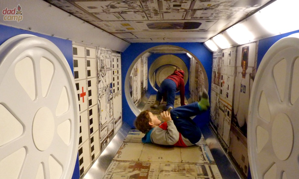 Rolling in zero G on the International Space Station.