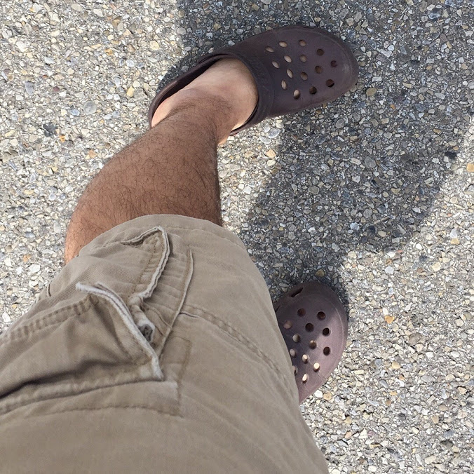 cargo shorts and crocs