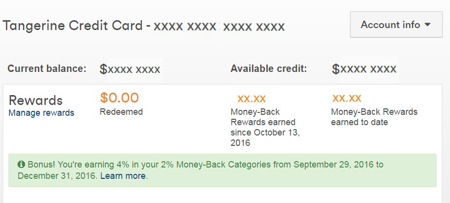 Tangerine Money Back Rewards