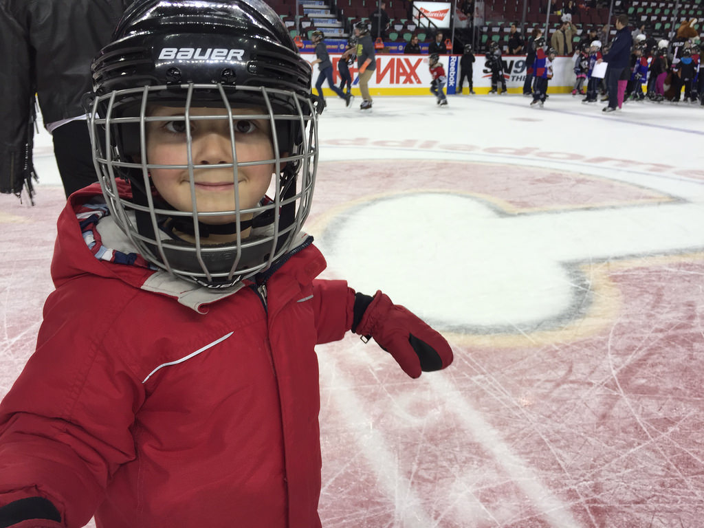 Charlie on the Saddledome ice